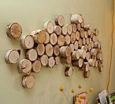 Wood logs wall art   - DIY Wall Art – 16 Innovative Wall Decorations