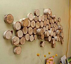 Wood logs wall art   - DIY Wall Art – 16 Innovative Wall Decorations