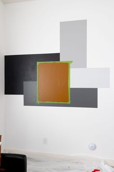 Behr Color Block Accent Wall - Neatly Living Behr Colors, Wall Colors, Room Design Bedroom, Home Room Design, Colour Blocking Interior, Geometric Wall Paint, Beauty Room Decor, Brick Interior, Block Painting
