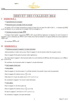 Correction de Mathématiques du Brevet 2014 métropole