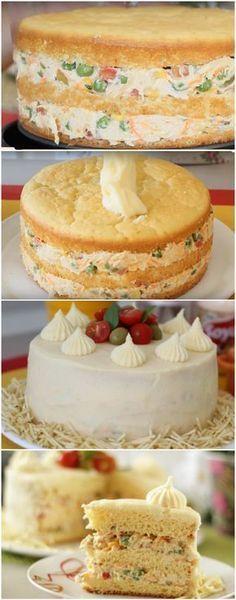 Bolo Salgado com massa de pão de ló - Простые рецепты - Cake Recipes, Snack Recipes, Cooking Recipes, Snacks, Easy Smoothie Recipes, Easy Smoothies, Sandwich Cake, Fall Desserts, Ice Cream Recipes