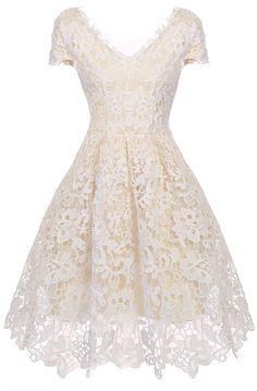 Apricot V-Neck Cap Sleeve Flower Lace Dress