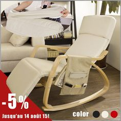 SoBuy Relax Rocking Chair Lounge Chair with Cream Cushion and Adjustable Footrest