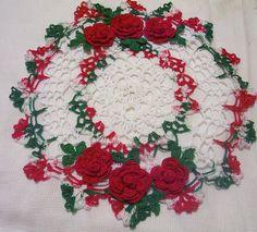 holiday roses crocheted doily home decor handmade in USA