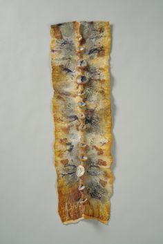"""Natura Spina"" by Cindy Obuck --- 2015; Natural dyed silk, Merino wool, silk fibres, goat locks, beads; Nuno wet felting, Shibori technique; 82 x 24 x 2.5; Value: $345.00; Sold. Hand Craft Work, Shibori Techniques, Dyed Silk, Wet Felting, Goat, Merino Wool, Locks, Beads, Natural"