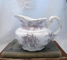 Antique lavender mauve Transferware creamer vase by lillieandnora, $10.50