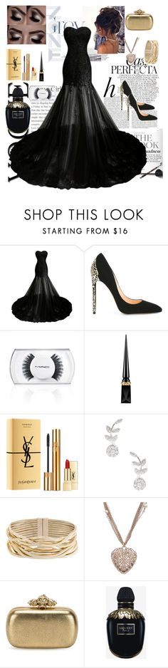 """""""Prom night 🖤"""" by krishayshay ❤ liked on Polyvore featuring Whiteley, Cerasella Milano, MAC Cosmetics, Christian Louboutin, Yves Saint Laurent, Rina Limor, Rosantica, Chanel and Alexander McQueen"""