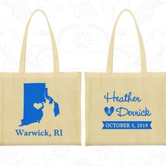 Rhode Island Wedding, Rhode Island Tote Bags, Wedding Canvas Tote, Destination Wedding Bags, State Tote Bags, Custom Wedding Tote (138)