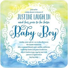 Color Me Joyful - Baby Shower Invitations - Hello Little One - Oasis - Blue : Front