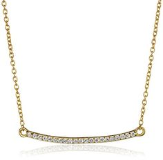 Sterling Silver with Yellow Gold Flash Cubic Zirconia Bar Necklace 17 >>> More info could be found at the image url.