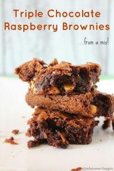 Triple Chocolate Raspberry Brownies. These brownies are rich, gooey and delicious. And they're made from a mix! Shh! Don't say anything and no one will know!