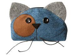 Cat Face Zipper PURRRRRRse Handmade Cosmetic Pouche Cell by ifONA