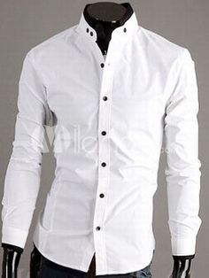 White Cotton Blend Mens Fashion Casual Shirt Item Code:#11600251082 Price:  $27.99