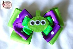 Toy Story Alien Hair Bow  Like facebook Page:  http://www.facebook.com/pages/A-Bow-for-my-Doll-Tutus-by-Gloria-Chang/237381999629806  http://abowformydoll.storenvy.com/