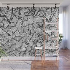 Monochrome Leaf Wallpaper Exotic Leaves Wallpaper Baroque Style Wall Mural Home Decor Easy Installation Wall Decal Removable Wallpaper Interior Wallpaper, Bathroom Wallpaper, Wall Wallpaper, Leaves Wallpaper, Wallpaper Backgrounds, Wall Design, House Design, Wall Decor, Room Decor