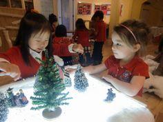 Winter small world with Christmas village figures - Preschool Holiday Activities