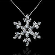 Solid 14K White Gold Diamond Snowflake Pendant