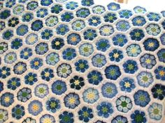 Blue African flower afghan, inspiration.