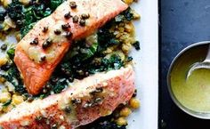 Slow-Cooked Salmon, Chickpeas, and Greens Ver2 / Photo by Pedan + Munk