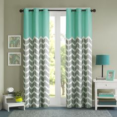 Intelligent Design Nadia Energy Efficient Window Curtain|Designer... ($24) ❤ liked on Polyvore featuring home, home decor, window treatments, curtains, grommet-top drapery panel, zigzag curtains, chevron curtains, chevron window panels and room darkening curtains