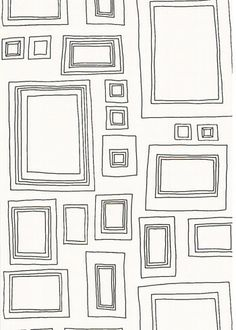 How fun is this..interactive wallpaper! Kids can draw artwork inside the frames.  Or photos.