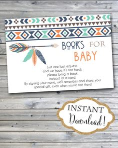 tribal baby shower bring a book card aztec tribal feather arrow, Baby shower invitations