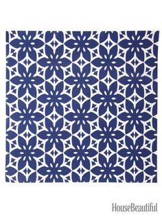 Blossom Tropic Peel-and-Stick Wallpaper. housebeautiful.com. #wallpaper #navy