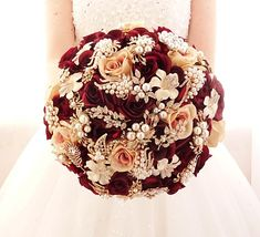 Silk flower burgundy wine rose gold brooch bouquet , gold jeweled crystal alternative unique bouquet by Memory Wedding On the picture is 10 size bouquet This bouquet is made of silk roses flowers and rose gold jewels contact me for any questions)) We accommodate to any budget! You