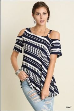 c0e8a0f864b UMGEE blue navy white stripe cold shoulder tunic top S M. Pink Peplum  Boutique