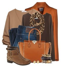 """""""Orange & Leopard for Fall"""" by brendariley-1 ❤ liked on Polyvore featuring moda, Moschino Cheap & Chic, J.W. Anderson, La Garçonne Moderne, BOSS Orange, Valentino, Fat Face y Kate Spade"""