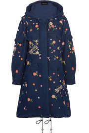 Dragonfly Garden hooded embellished embroidered denim parka