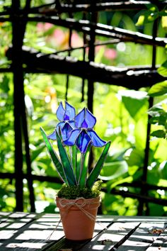 Stained Glass Suncatcher Blue Double Iris Summer by GalaGardens, $24.50