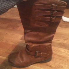 tall brown buckle boots tall brown buckle boots Shoes