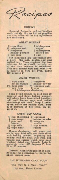 Wheat Muffins • Crumb Muffins • Raisin Cup Cakes (Betty Brite)
