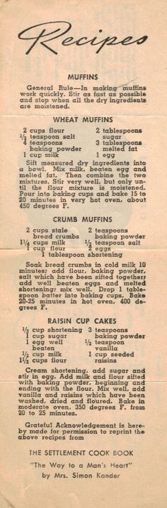Wheat Muffins • Crumb Muffins • Raisin Cup Cakes (Betty Brite)