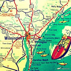 WILMINGTON North Carolina map print  Topsail - A $5 donation from every sale will be donated to feed one Jamaican  school child breakfast for one week.  :)
