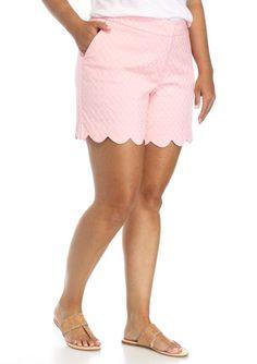 Crown & Ivy Women's Solid Jacquard Scallop Hem Shorts Stretch Bubblegum Size 20W #CrownIvy #CasualShorts #Summer
