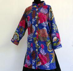 MANTEAU femme léger bleu en coton gaudri imprimé exotic : Manteau, Blouson, veste par akkacreation