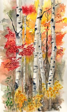 Kathleen Spellman WATERCOLOR... Reminds me of the birch tree we had in our front…