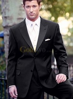 Hot black tux, but of course with the light pink flower.
