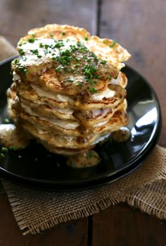 Sourdough pancakes with ricotta and a mustard maple glaze