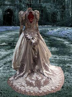 STEAMPUNK WEDDING GOWNS | ... Victorian Gothic Steampunk Bustle Ghost Wedding Formal Dress M L
