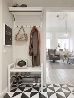 Scandinavian style two-bedroom apartment located in Russian city of Saint Petersburg, architecture & interior design by Architecture. Foyer Design, Home Interior, Interior Design, Home Staging Tips, Apartment Entryway, Two Bedroom Apartments, Scandinavian Style, Small Spaces, Room Decor