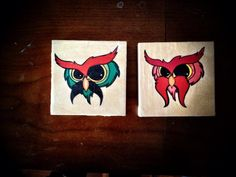 "<<Dirty Mustache Owls  Jose and Carlos>>  Drawing Transfer on wood block, 4x4"",  $25  Melisacole@hotmail.com www.Melisacole.com"