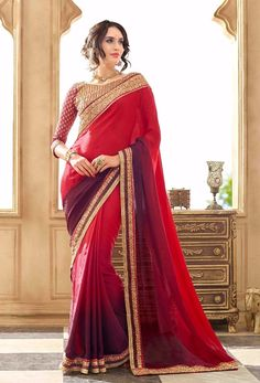 Latest Red Designer Saree Online - Craft Shops India