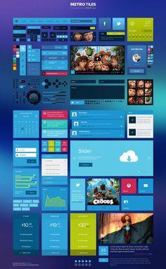 Metro Tiles es un enorme set con todo tipo de elementos para la interfaz de usuario de aplicaciones web y móviles. La plantilla se descarga en formato PSD.