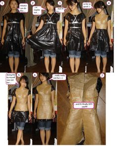 Even Better dress form idea! Use garbage bag as base, instead of old shirt, with paper tape!