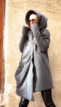 NEW Winter Extremely Warm Hooded Grey Cashmere / Wool Coat / Extra Long sleeves / Thumb hole sleeves  Extravagant and Unique Dark Grey Asymmetrical Coat