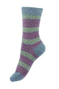 Rosedale design women's boot socks in peacock blue. Made in England by Scott-Nichol