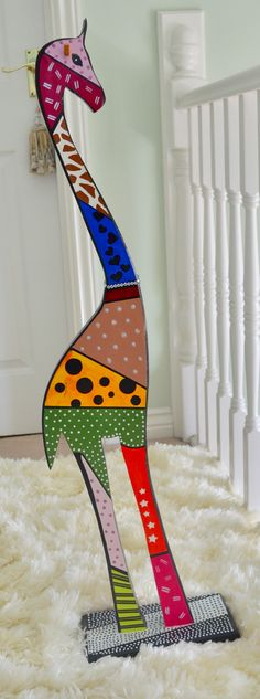 Wooden giraffe Giraffe, Symbols, Hand Painted, Letters, Crafts, Art, Manualidades, Art Background, Felt Giraffe